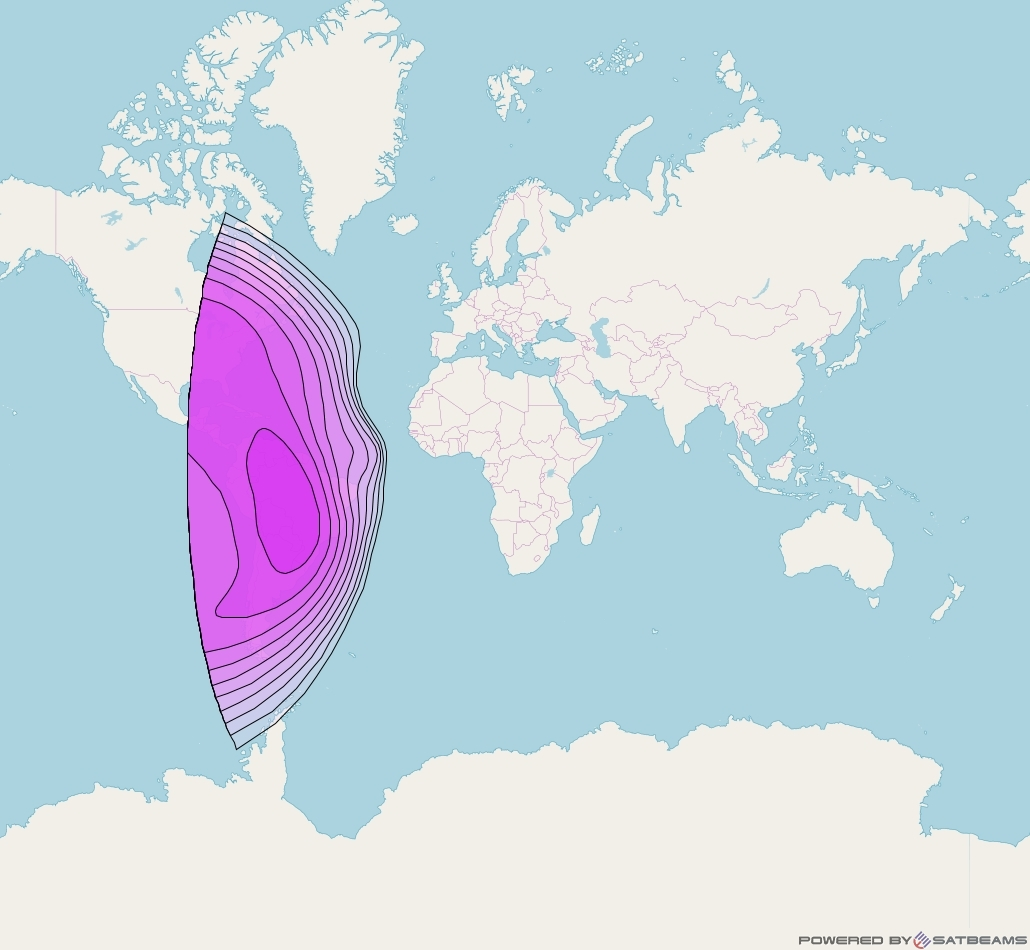 Express AM8 at 14° W downlink C-band Americas beam coverage map