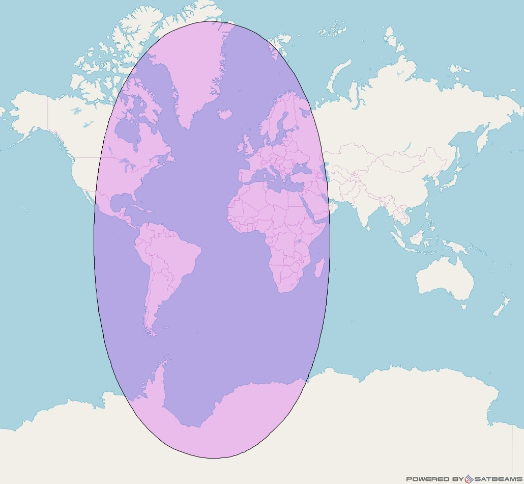 Intelsat 907 at 27° W downlink C-band Global Beam coverage map