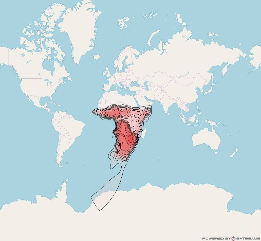 Intelsat 28 at 33° E downlink Ku-band AFKH (Africa) beam coverage map