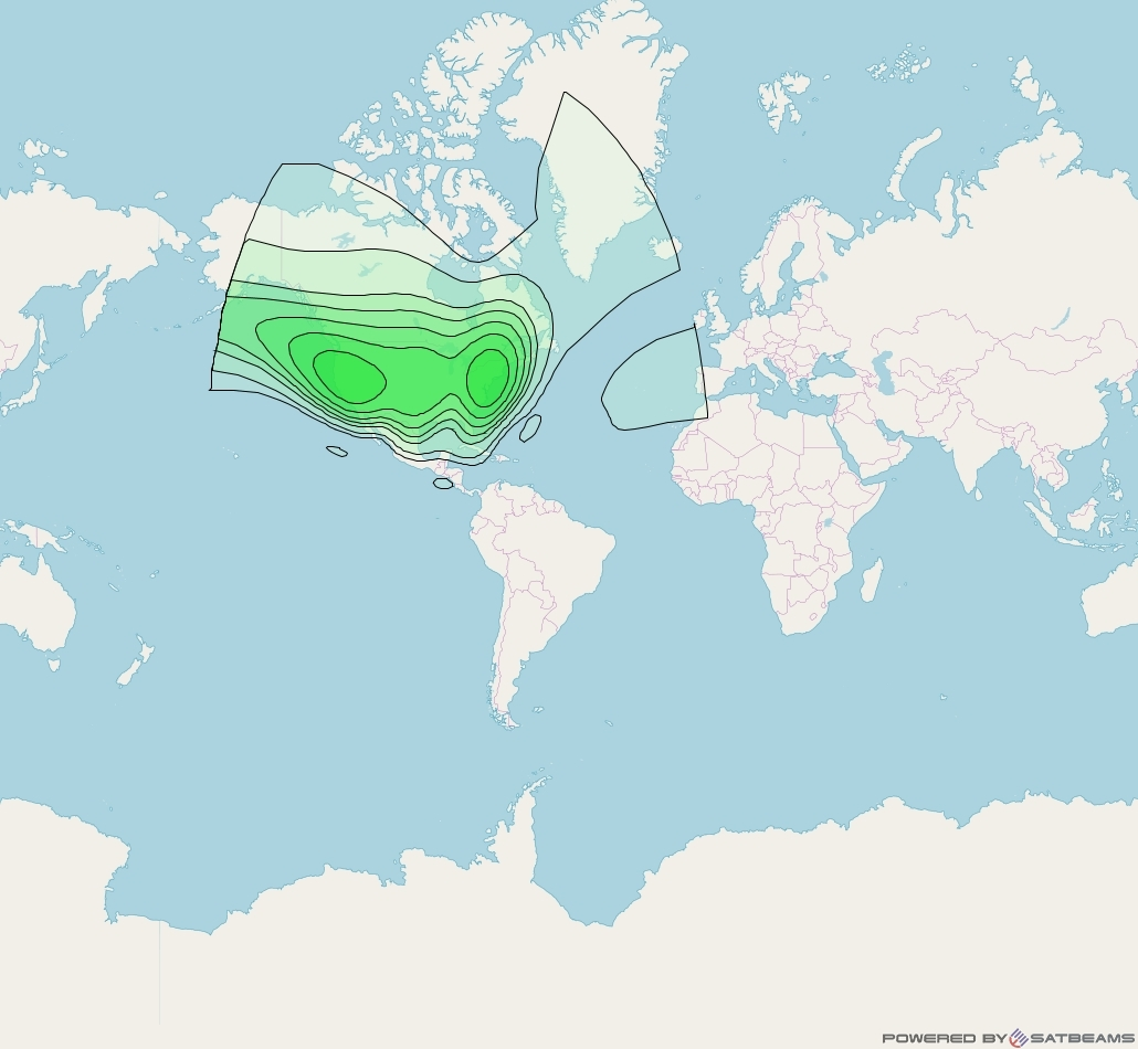 XM 3 at 85° W downlink S-band CONUS Beam coverage map