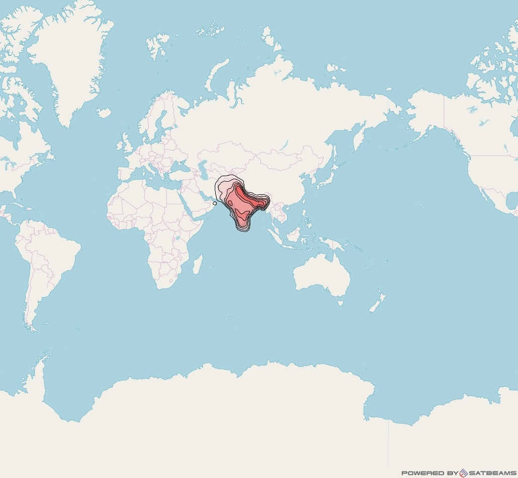 SES 8 at 95° E downlink Ku-band South Asia beam coverage map